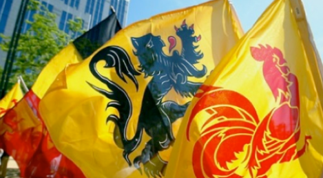 The Walloon, Flemish and Belgian flags