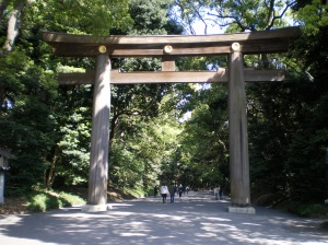 Gate leading to the Meiji Jingu shrine.